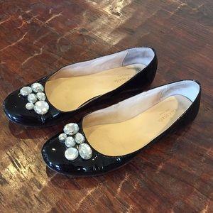 Kate Spade black rhinestone ballet flats